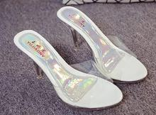 2017 Summer Women Sexy High-heeled Cool Slides Slippers Female Transparent Crystal Waterproof Sandals Thick Fish Mouth Sandals