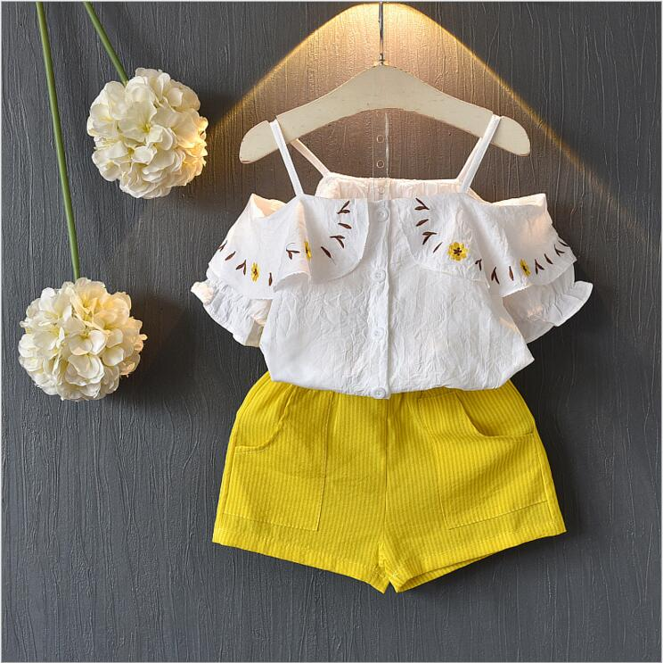 3c2fd76c2121 children kids girls off should blouse and shorts 2pcs clothes set baby  girls cotton t-shirt children ruffles clothing outfit