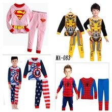 Супермен железный Человек Капитан Америка Человек-паук Косплей Костюмы лето Детская детская одежда с длинными рукавами Аниме пижамы костюм