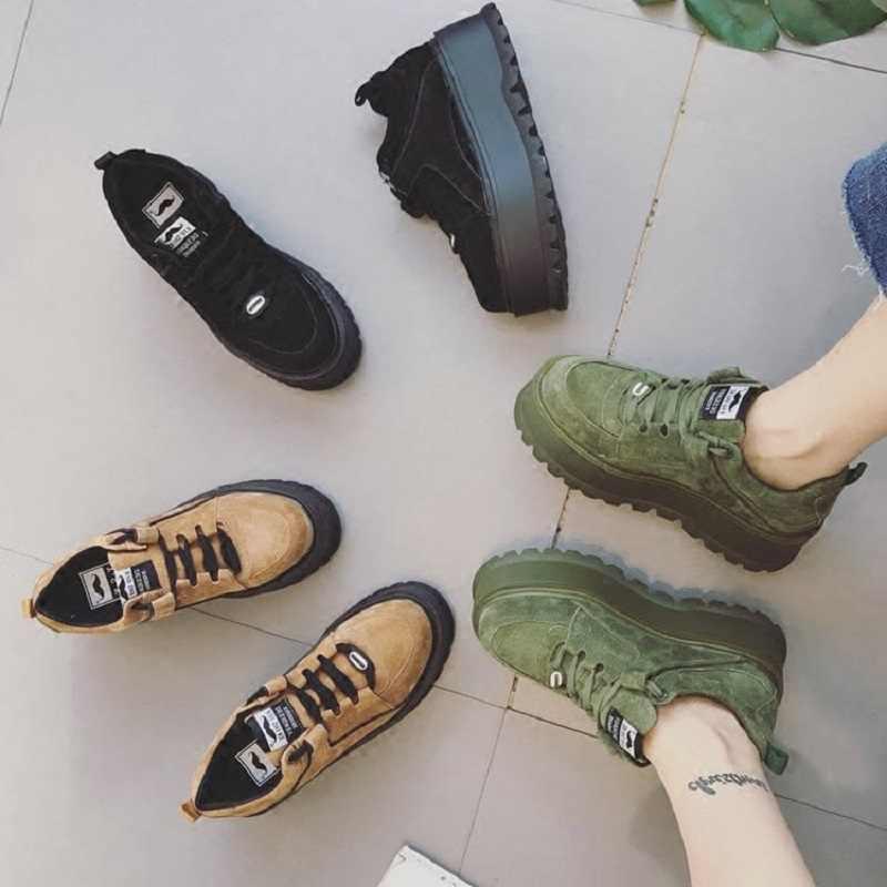 18c6ef23a Женская обувь на платформе с рифленой подошвой, новинка 2018 года, осенняя Молодежная  обувь в