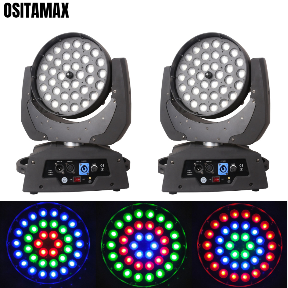 2pcs/lot Factory Sale 36x18w LED Zoom Moving Head RGBWA UV 6IN1 Ring Color Change Brightness Wash Light for Disco Show Club