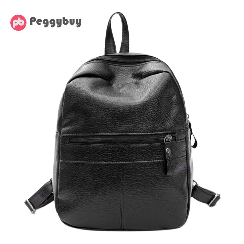 Famous Brand PU Leather Backpack Women Vintage Satchel Shoulder Bag Leisure School Bags for Teeenage Girls Black Travel Rucksack