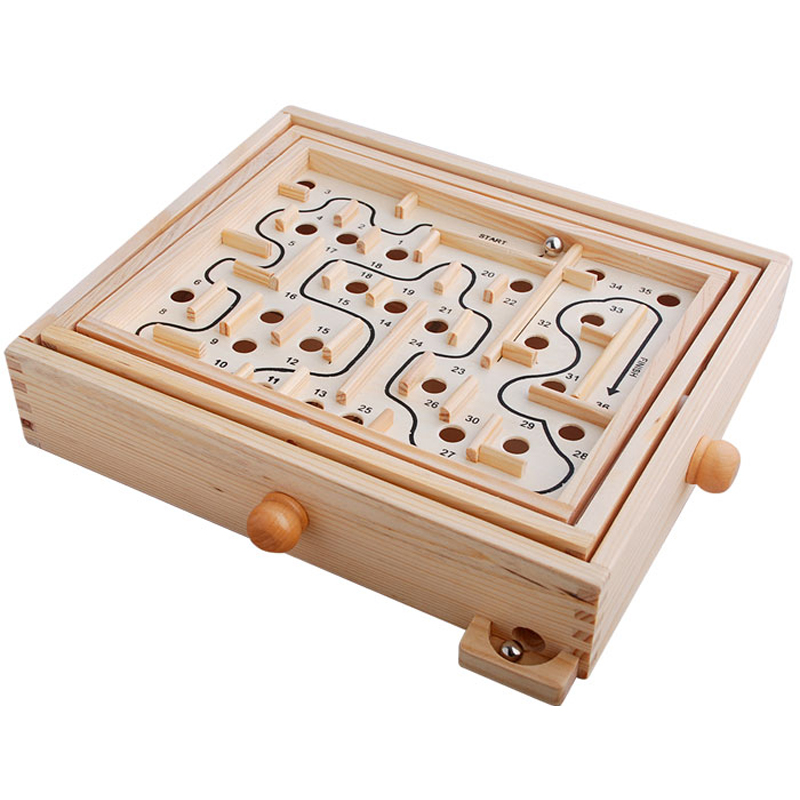 Labyrinth Wooden Toys Pinball Maze Board Game Kids Toy Wood Puzzle Magic Cube Family Games Children Desktop Decoration 28cm/11cm