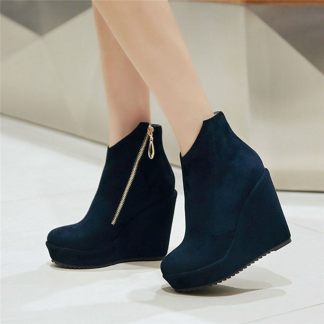 Women'S Ankle Boots Flock And Wedge Heel