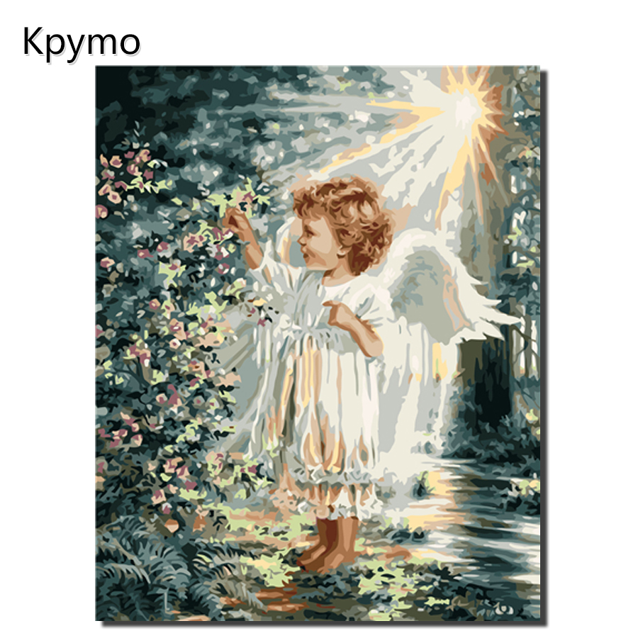 Kpymo DIY PBN Angel Gir Arcylic Painting By Numbers On Canvas Framed Wall Pictures Art For Living Room Home Decoration VA-0322