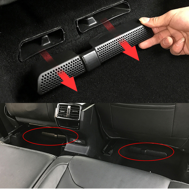 2PCS/Set Car Air Outlet Cover For Skoda Kodiaq 2016 2017 2018 Back Seat Under Car Rear Seat Air Conditioning Vent Cover Net