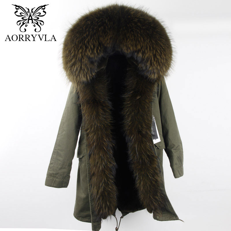 AORRYVLA New Fur   Parkas   For Women Winter 2018 Army Green Long Natural Luxury Raccoon Fur Collar Hooded Fashion Winter Jacket