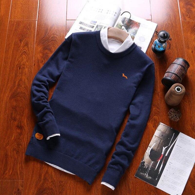 Новинка 2017 года Повседневное поло свитер Для мужчин известный бренд твердых Пуловеры для женщин Длинные рукава хлопок o-образным вырезом осень большие размеры мужские свитера S0028