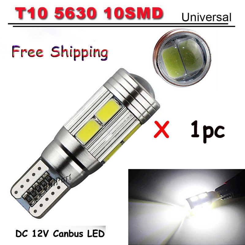 High power T10 w5w led car light t10 6smd 10smd 5630 5w5 12v t10 white car bulb Lamp interior light w5w t10 canbus error free