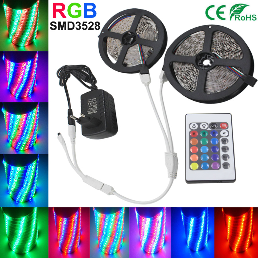 5M 10M RGB LED Strip Light SMD2835 3528 Waterproof Tape Led RGB Strip Flexible Diode Ribbon 15m20m for Controller Adapter DC12V