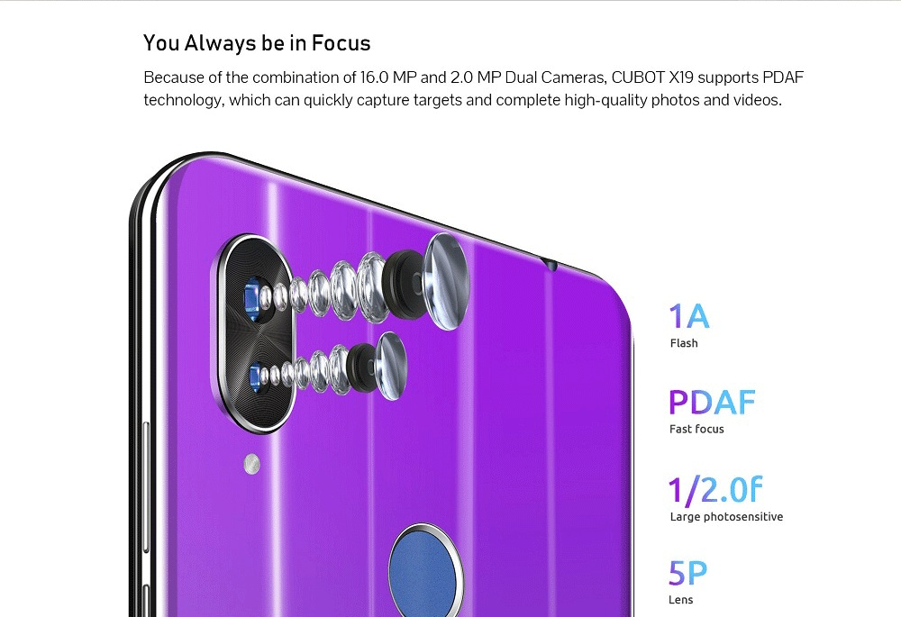 Cubot X19 Helio P23 Octa Core 18:9 FHD+ 4GB+64GB 5.93'' Smartphone Dual Camera 16.0MP 2160*1080 4000mAh 4G LTE Face ID Cellphone