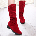 2016 Otoño Invierno Cálido Flock Botas Planos de La Manera de Mitad de la pantorrilla Mujeres Bota Señora Casual Zapatos de Estilo Británico Martin Botas Size35-40Black