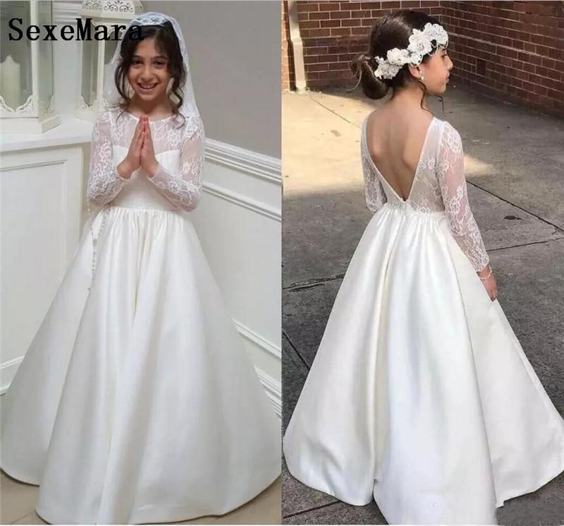 Princess   Flower     Girls     Dress   White Lace Long Sleeves V Back First Communion   Dresses   Little Kids Birthday   Dresses   White Ivory