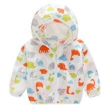 Toddler Kids Boys Girls Summer Print Sunscreen Jackets Hooded Outerwear Zipper Coats New Fashion