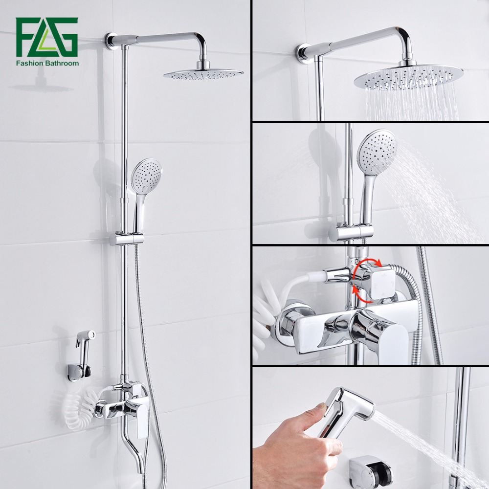 FLG Chrome Shower Faucets 9 Inch Shower Head ABS Hand Shower Bath Shower S Sprayer W/Commodity Shelf Wall Mounted Bathroom Tap