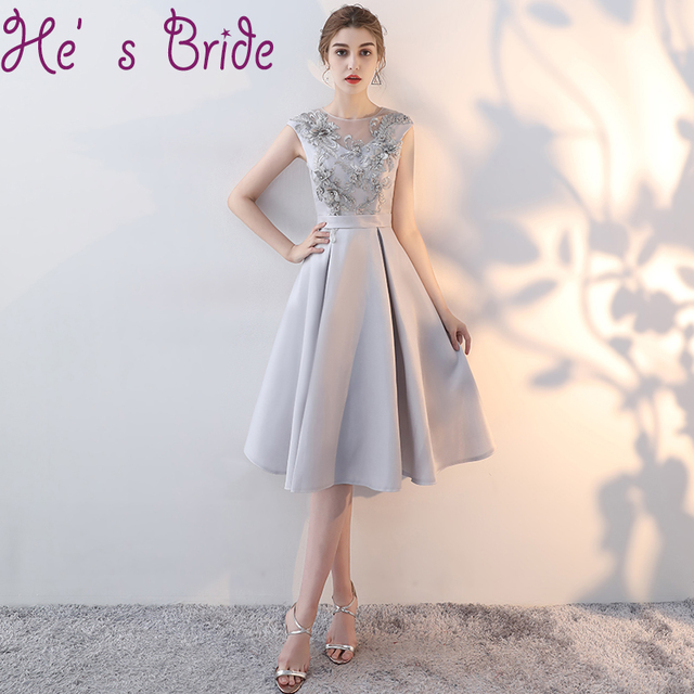 Evening Dress Elegant Gray Scoop Neck Short Sleeves Lace Up Back A Line  Satin Lace Illsuion Simple Modern Party Prom Dress f6d0162c89d5