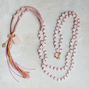 Lotus Mann Powder long layered fringe necklace powder crystal necklace in Europe and the female