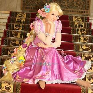 Image 2 - Tangled Cosplay Wig Princess Rapunzel Long Braids Artificial Flowers Headwear Women Blonde Synthetic Hair Adult