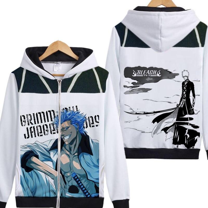 Bleach hoody Anime Kurosaki Ichigo Getsuga Tenshou jacket coat zipper hoodies cool 20cm bleach anime kurosaki ichigo getsuga tenshou pvc action figure collection model toy
