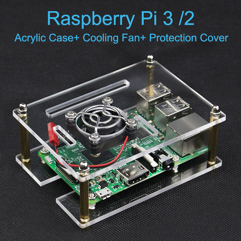 Raspberry Pi 3 Model B+ Acrylic Clear Case Enclosure Shell + Cooling Fan + Protection Cover for Raspberry Pi 3 Model B/2 latest for raspberry pi model b case for raspberry pi2 model b cover shell enclosure bo black