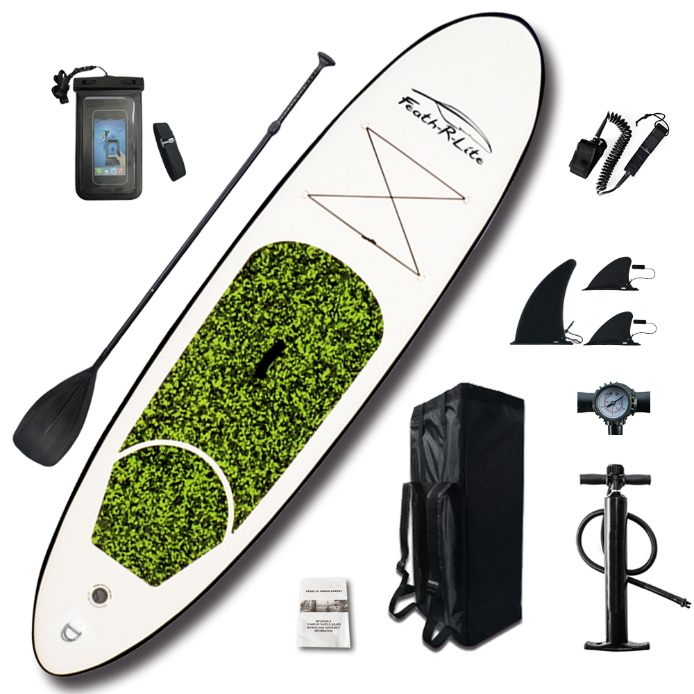 Caiaque inflável Stand Up Paddle Board Sup-Board Prancha de Surf definir 10'x30''x4''with Mochila, trela, bomba, saco à prova d' água