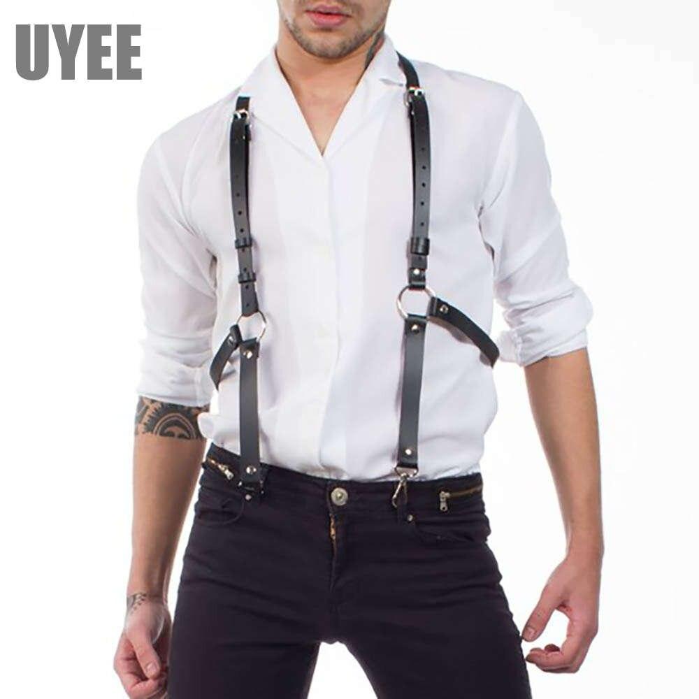Men Leather Bondage Body Harness Strap Belt Suspenders Braces Party Bar Costumes