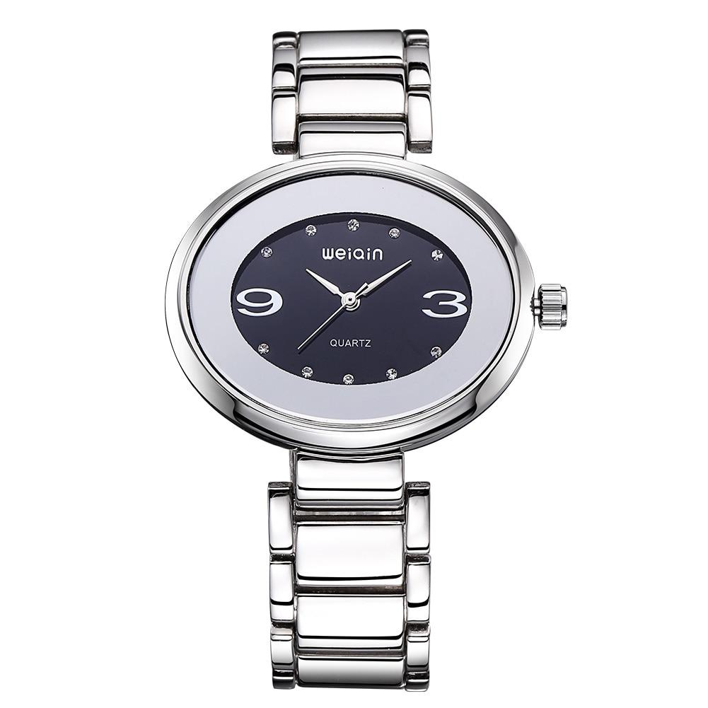 WEIQIN New Design Style Oval Dial Steel Watches Women Fashion Quartz RhinestoneLady Bracelet Arabic Numerals Dress