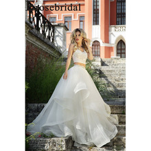 Erosebridal New Arrival 2019 Two Piece Wedding Dress Crop Top Gown Backless Bride Dreaming Tulle Ruffled