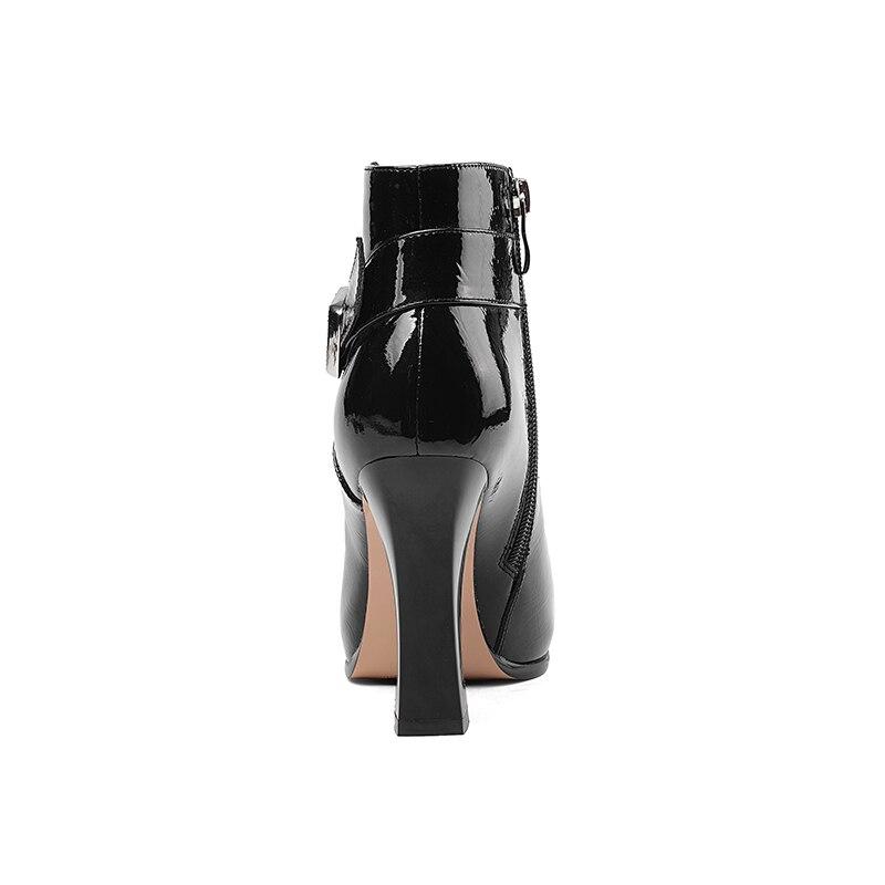Rouge Talons Bottes Femme 2018 En Isnom Chaussures Plate Verni Cheville Bout Noir Des vin wine Red Pointu Inhabituel Hiver Femmes Haute Zip black Cuir forme FBwqIqnP