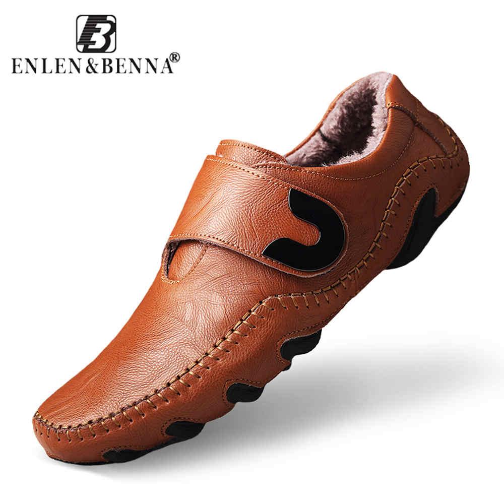 Повседневная мужская обувь без шнуровки, лоферы, весна-осень, модная обувь для вождения из натуральной кожи, мягкие мокасины, удобные мужски...