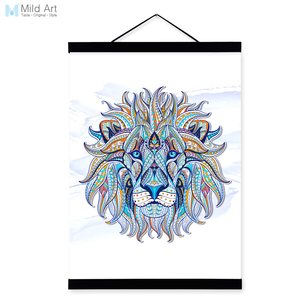 Modern Ancient <font><b>African</b></font> National Animals Lion Face Totem A4 Framed Canvas Painting Wall Art Prints Picture Poster Bar <font><b>Home</b></font> <font><b>Decor</b></font>