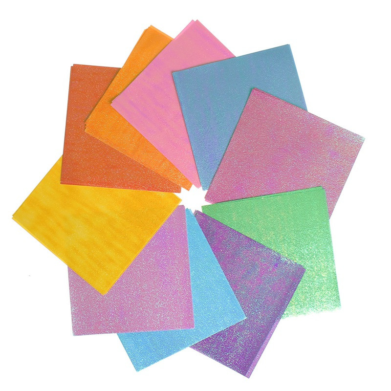 50Pcs/Set Square Origami Paper Single Sided Solid Color Shining ...