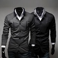 New! 2015  Autumn Fashion Zipper Decoration Male Casual Suit Single Row Button Suit