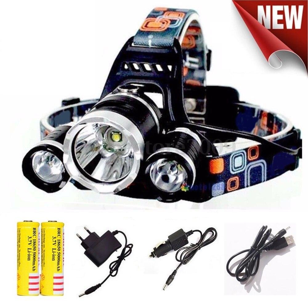 Impermeable linterna LED recargable 18650 headlamp 10000LM luz cabeza lámpara 1T6 + 2R5 linterna de pesca linterna de cabeza