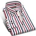 Contraste caiziyijia otoño 2017 de los hombres de múltiples rayas camisas sport soft comfort button-down diseño collar cuadrado delgado camisa de ajuste