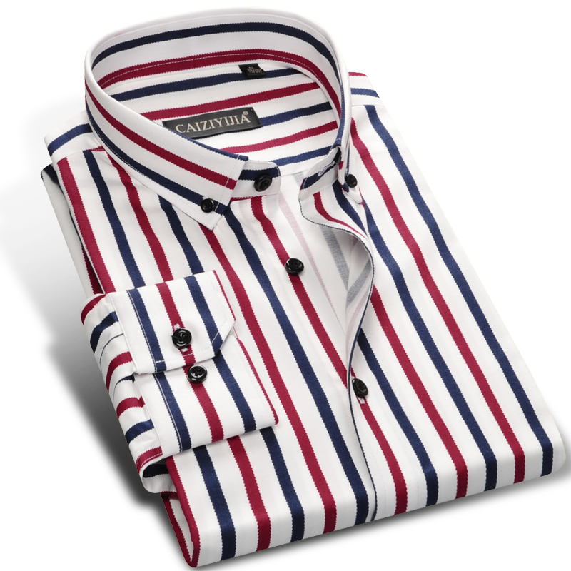 Men's Contrast Vertical Striped Dress Shirts High quality Comfortable Cotton Long Sleeve Slim fit Smart Casual Button down Shirt