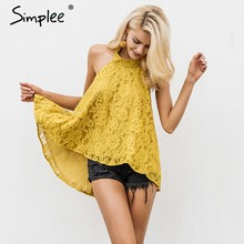 Simplee Sexy halter lace mesh embroidery women cami tops Elegant sleeveless ladies tank tops Summer casual streetwear tops 2019(China)