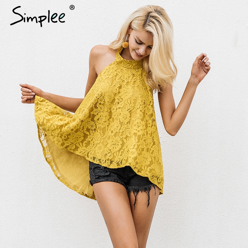 Simplee Sexy halter lace mesh embroidery women cami   tops   Elegant sleeveless ladies   tank     tops   Summer casual streetwear   tops   2019