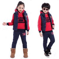 3Pcs Kids Teenage Girls Clothes Winter Children Sport Suit For Boys Clothing Sets Hooded Sweater Vest