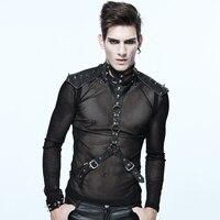 Gothic PU Leather Strap Collar Heavy Metal Black Close Fitting Male Corset Neck Steampunk Accessory