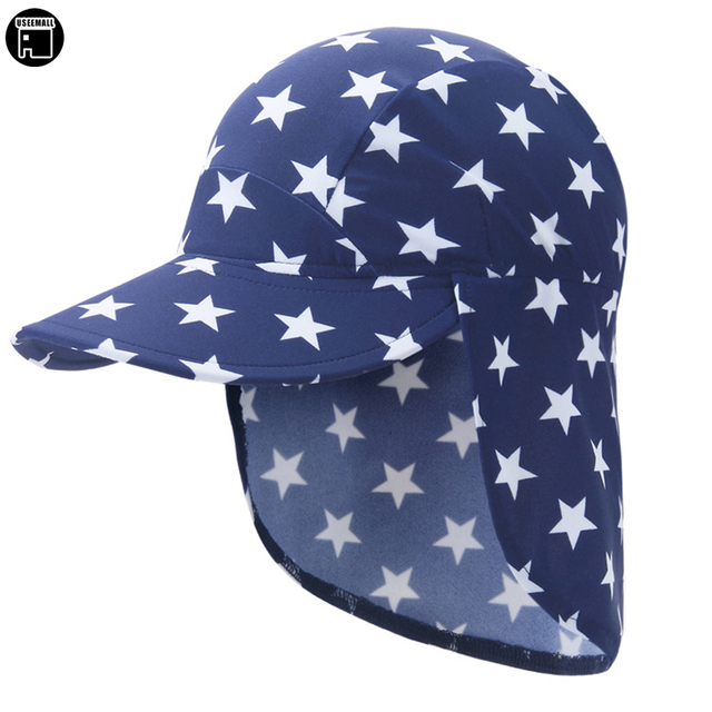 b32adf05 USEEMALL Summer Sun Cap 1-10Y Neck Ear Protection Foldable Dry Quick Hat  Waterproof Kids Boys Girls Outdoor Sun Hat Cap Hot Sale
