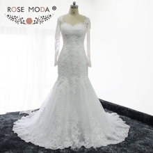 Rose Moda Real Image Long Sleeves Lace Mermaid Wedding Dress Illusion Back Destination Wedding Gowns 2017