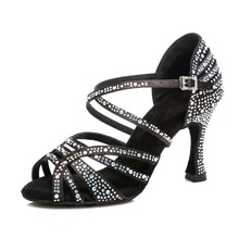 Women Ballroom Latin Dance Shoes Black Red Salsa Tango Bachata Dance Shoes Cuba Heel 9cm Suede Sole VA45