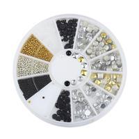 Black Gold Silver Variety Rivets Mixed Acrylic 3D Nail Art Decorations Tips Glitter DIY Charm Nails