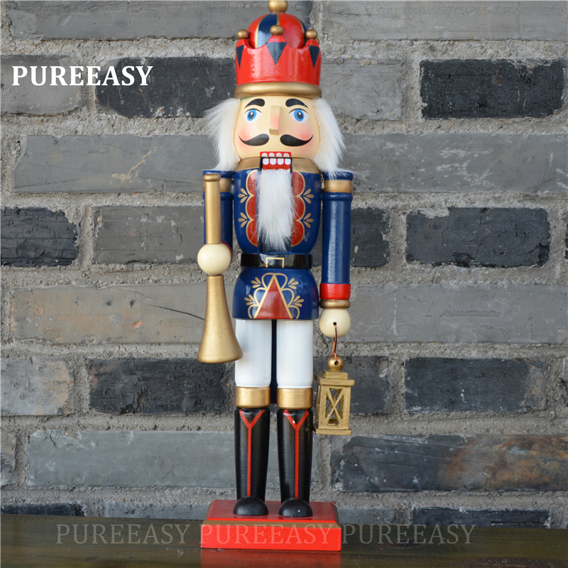 2pcs set 36CM Nutcrackers colletction Christmas home decoration Orignal wood Nutcrackers Figurines ornaments Puppet in Figurines Miniatures from Home Garden