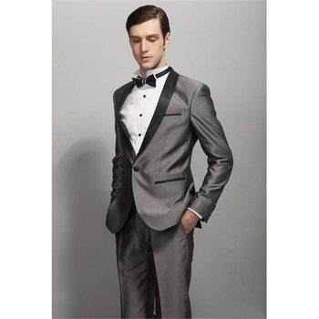 New Fashion One Button Shiny Gray Groom Tuxedos Groomsmen Shawl Lapel Mens Suits Blazers (Jacket+Pants+Tie) W:823