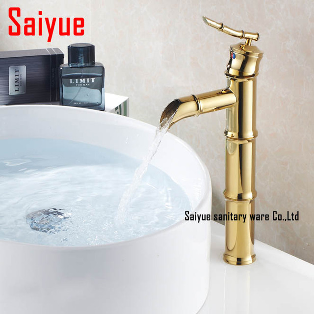 Luxury DIY Bamboo Shape Gold Plating Bathroom Basin Sink Mixer Tap Faucet  Single Handle Brass Made