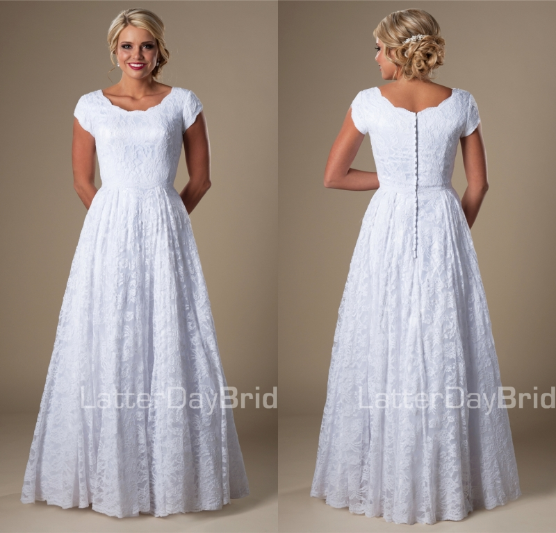 Vintage White Lace Modest Wedding Dresses With Cap Sleeves A Line