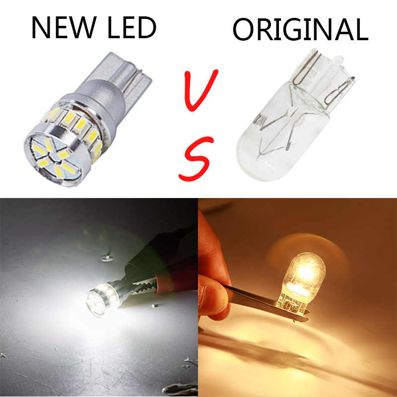 2 pièces w5w LED T10 ampoule LED Canbus 18SMD 3014 pour les feux de Position de Parking intérieur carte dôme lumières 12 V blanc ambre bleu rouge