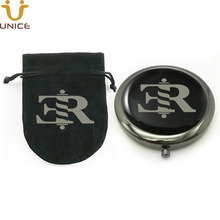 100pcs/lot Custom Your Logo Black Color Pocket Cosmetic Compact Mirror & Customized Velvet Bag Girls Handbag Purse 70